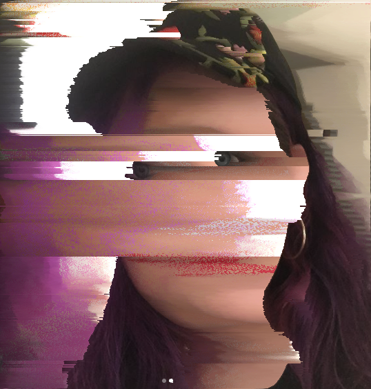 The same selfie as above, but sorting horizontally by brightness. You can tell that I am wearing a hat. Most of my face is pretty blurred, but my eyes are strangely intact, which is a bit unsettling. My hair also retains most of its shape.