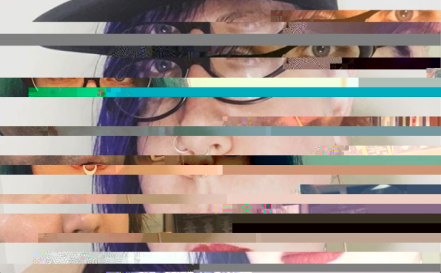 Glitched jpg image with horizontal bands from three separate selfies.