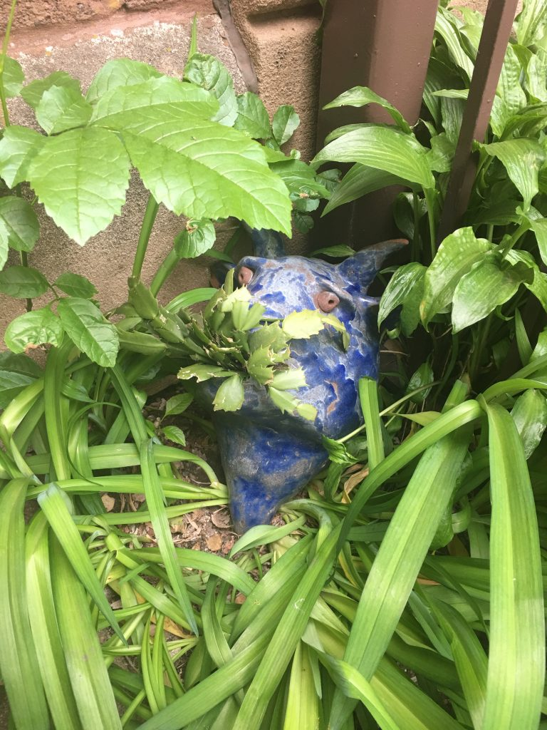 A blue ceramic planter in the shape of an animal's head with leaves growing out of the mouth