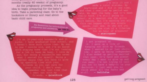 "Screenshot of a page from the gurl.com ""Deal with it"" book depicting disembodied mouths with colorful speech bubbles quoting online users."